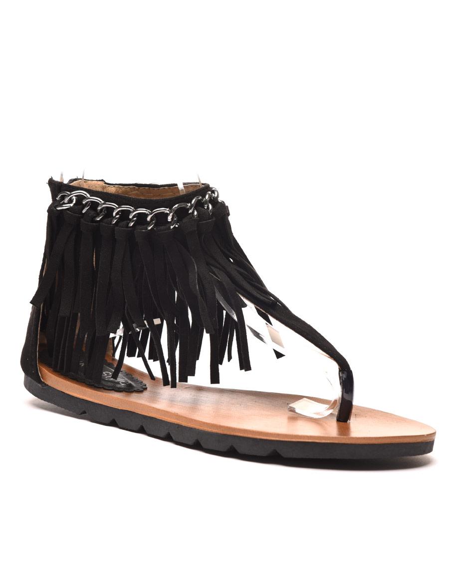 Sandale plate noire avec chaine et frange