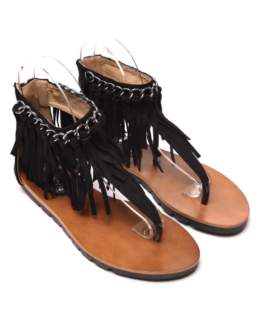 sandale plate noire avec chaine et frange pas cher. Black Bedroom Furniture Sets. Home Design Ideas