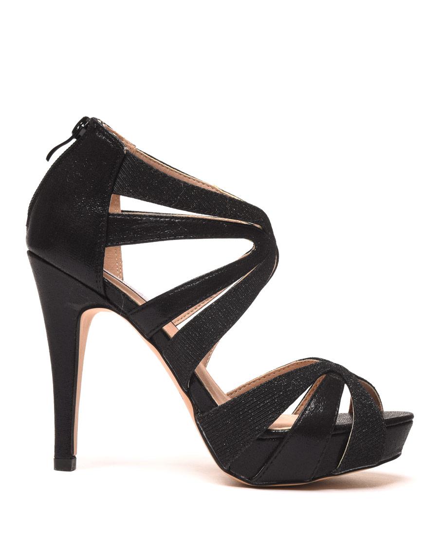 sandales talon noires avec brides pailletes pas cher. Black Bedroom Furniture Sets. Home Design Ideas