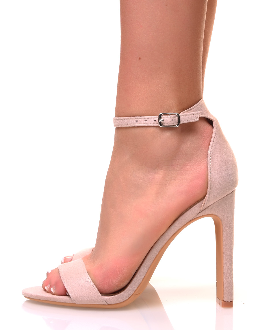 latest fashion get new in stock Sandales à talons plats en suédine rose pale