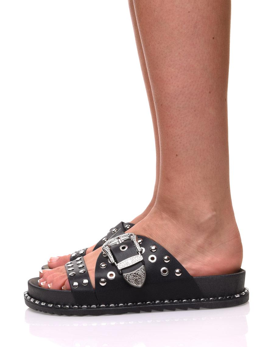 Boucles Noires Cloutées À Sandales Gravées A3Ljq54R