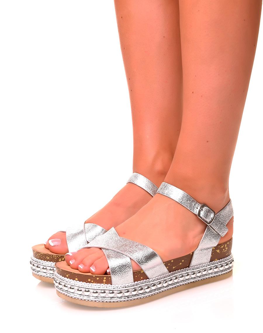 Sandales Argentées Compensées Sandales Sandales Compensées Argentées WeDH2bEIY9