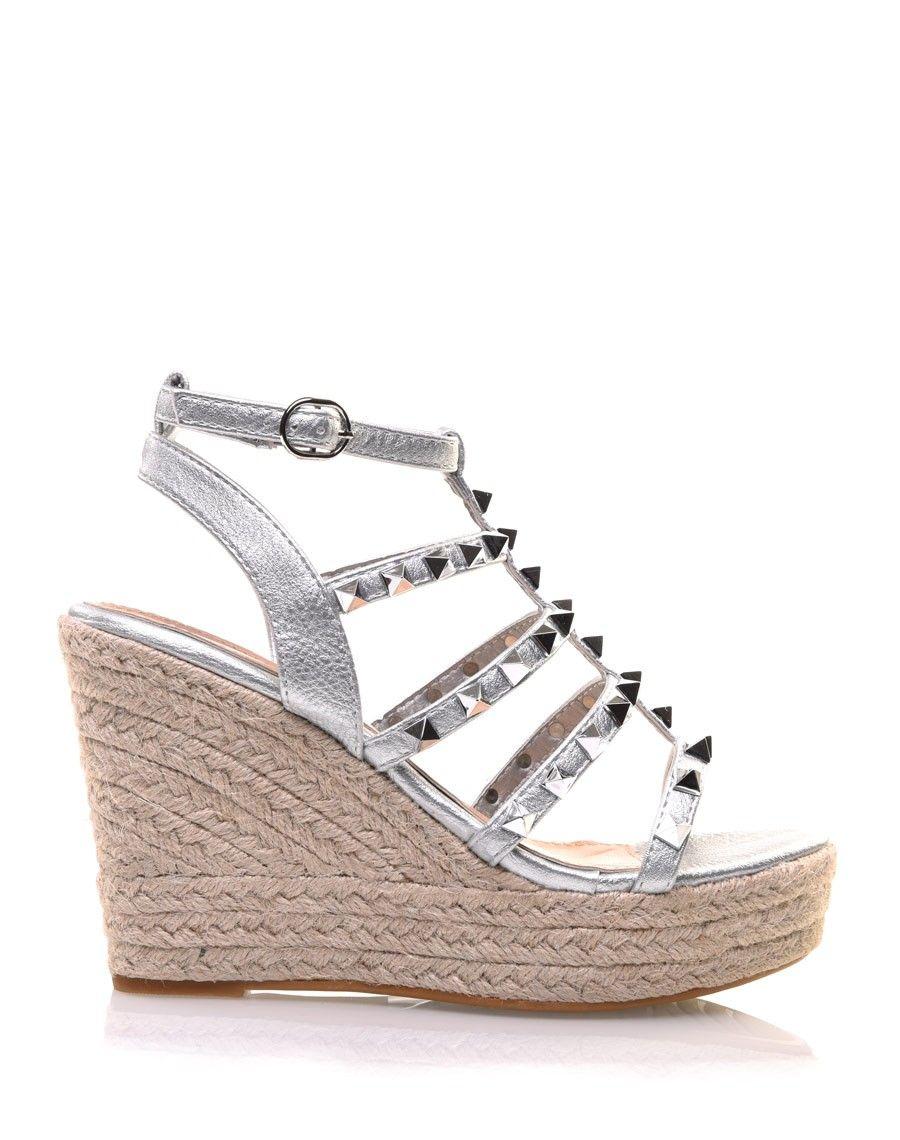 Sandales Argentées Compensées Cloutées Sandales Compensées nw0OPk