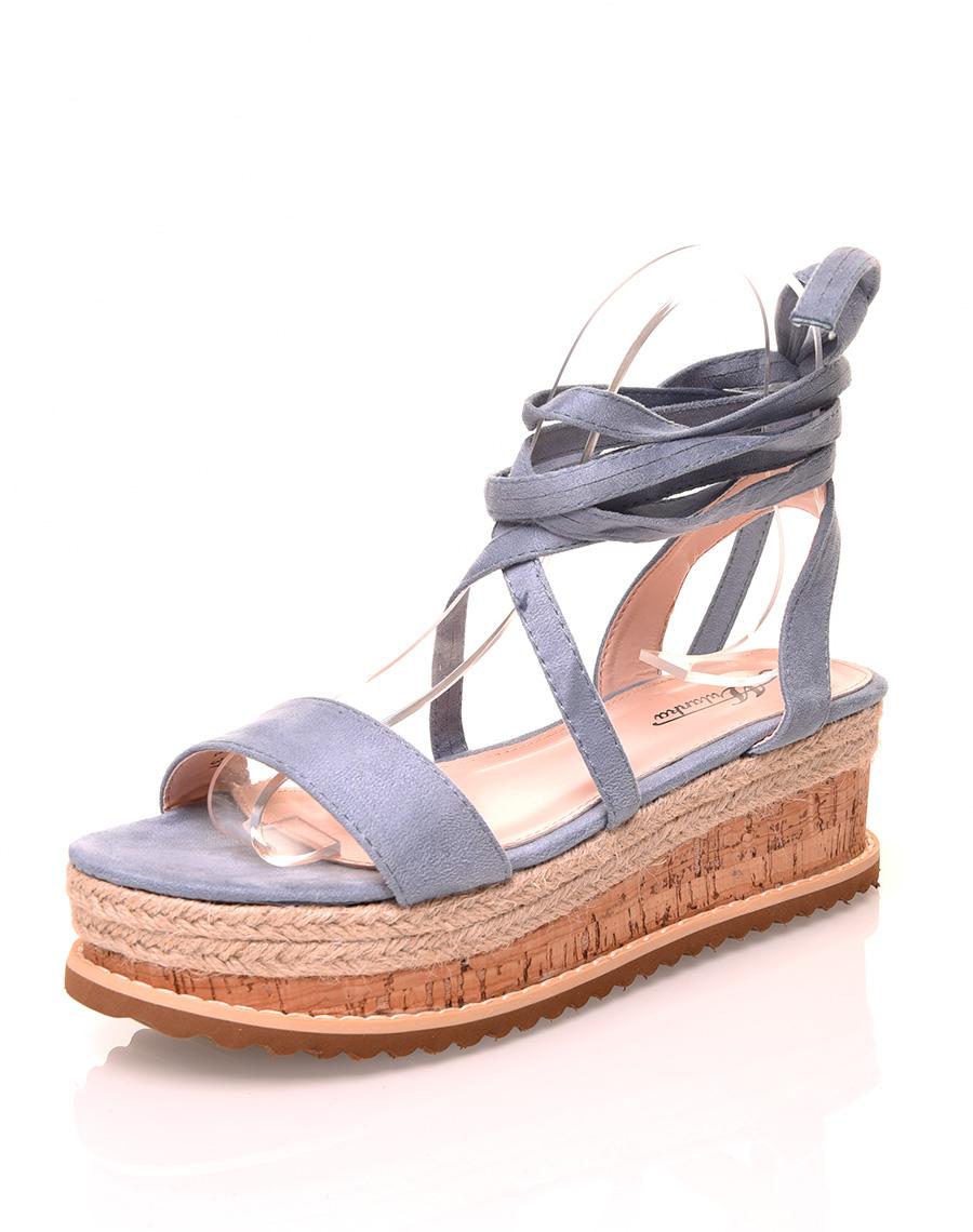 Suédine Lacets Compensées En Sandales À Bleu tshdxrCQ