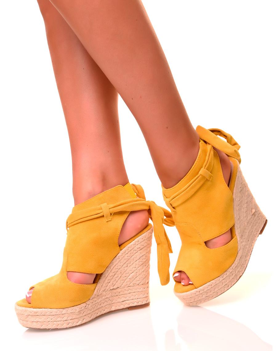 En En Sandales En Jaunes Suédine Sandales Compensées Sandales Compensées Jaunes Compensées Suédine c3lFKJT15u