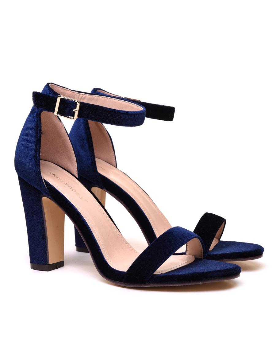 bb9ee4373a5c1a Sandales en velours bleues nuit à talons