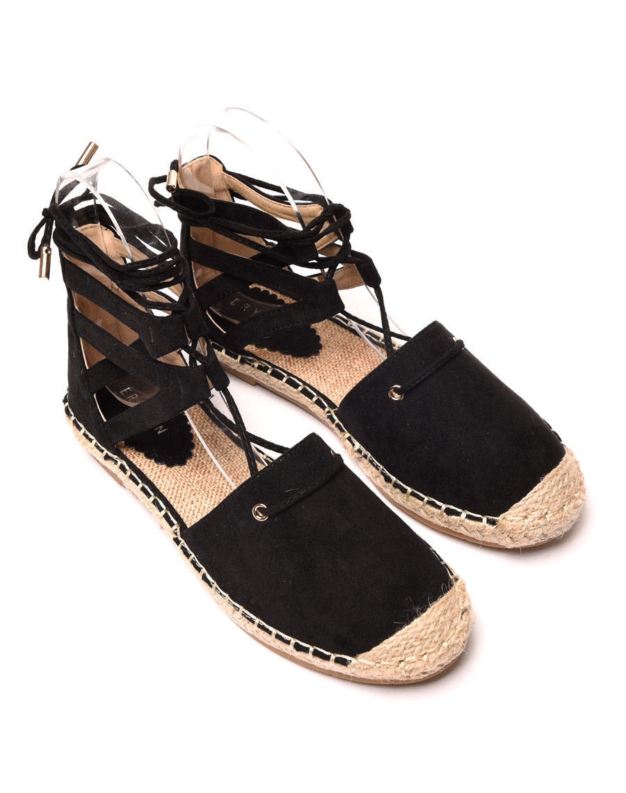 chaussure femme sandales espadrilles noires effet sudine. Black Bedroom Furniture Sets. Home Design Ideas