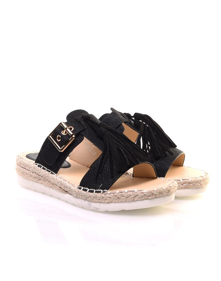 Sandales noires bride et pompons - Sandales a pompons ...