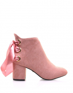 Bottines roses talons mi hauts lacets en satin