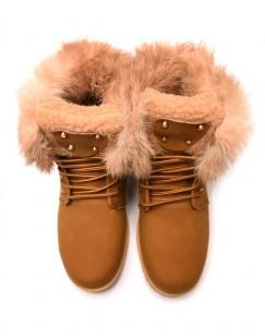 Chaussures montantes à lacets & fourrées camel