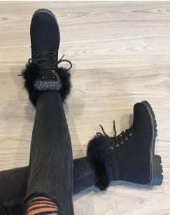 Chaussures montantes à lacets & fourrées noires
