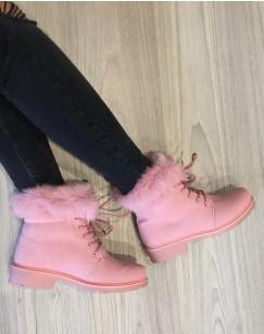 Chaussures montantes à lacets & fourrées roses
