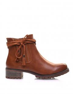 Chelsea boots camel à brides et pompons