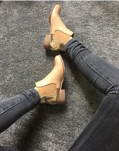 Chelsea boots camel pailletées court