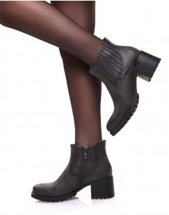 Chelsea boots grises à élastiques rayés