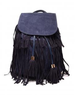 Grand sac à dos à franges bleu marine