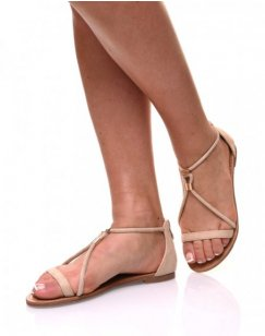 Nu-pieds beige ornées de perles or