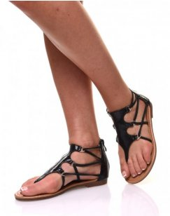 Nu-pieds noirs effets croco