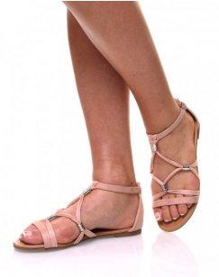 Nu-pieds rose en suédines
