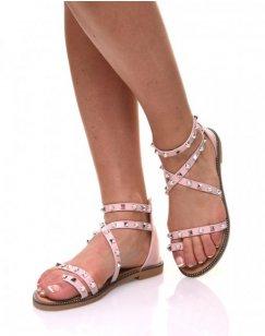 Nu-pieds roses cloutés et perlés