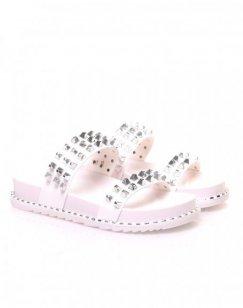 Sandales blanches à clous carrés