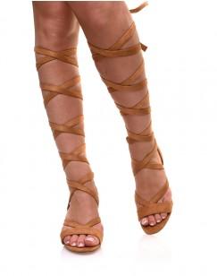 Sandales camel à petit talon