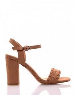 Sandales camel en suédine