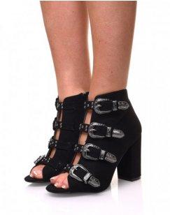 Sandales en suédines ouvertes noires à talons