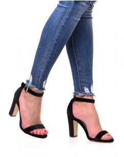 Sandales en velours noires à talons