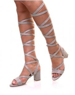 Sandales grises à petit talon