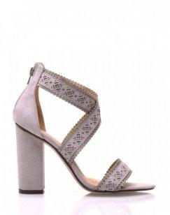 Sandales grises en suédine à talons épais