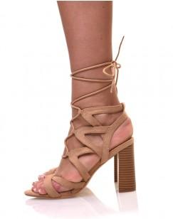 Sandales lacées beiges