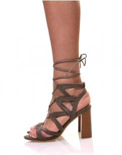 Sandales lacées kaki