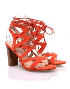 Sandales lacées orange