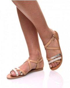 Sandales multi-bride croisée beiges