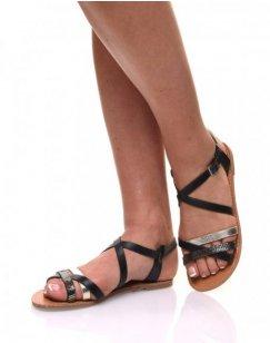 Sandales multi-bride croisée noires