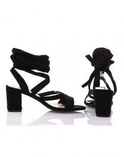 Sandales noires à petit talon