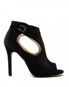 Sandales noires à talons ajourées en velours