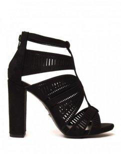 Sandales noires à talons & détails multiples