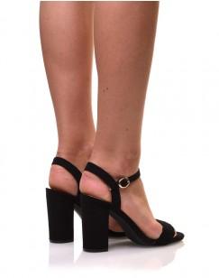 Sandales noires en suédine