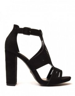 Sandales noires en suédine à gros talons