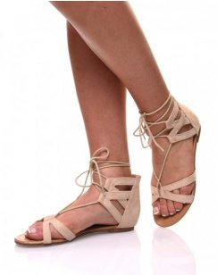 Sandales plates beiges en suédines