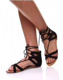 Sandales plates noires en suédines