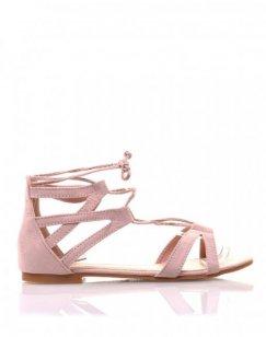 Sandales plates roses en suédine