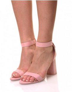 Sandales roses en suédine