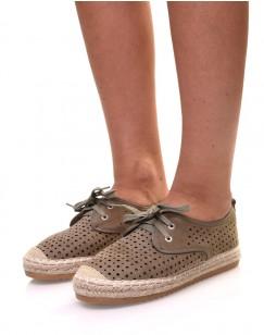 Sneakerdrilles kaki en suédine