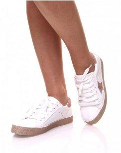 Sneakers blanches à paillètes champagne