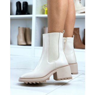 Beige square toe heeled ankle boots