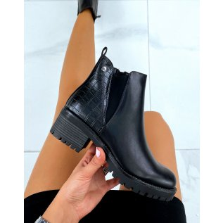 Black bi-material crocodile-effect ankle boots with high cut elastic