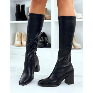 Black boots with heel and square toe